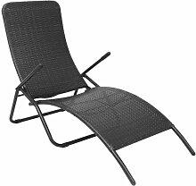 vidaXL Chaise longue pliante Rotin synthetique Noir