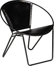 vidaXL Chaise Noir Cuir véritable