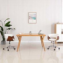 vidaXL Chaise pivotante de bureau Blanc Bois