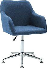 vidaXL Chaise pivotante de bureau Bleu Tissu