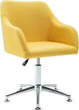 vidaXL Chaise pivotante de bureau Jaune Tissu