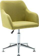 vidaXL Chaise pivotante de bureau Vert Tissu