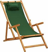 vidaXL Chaise pliable de plage Bois