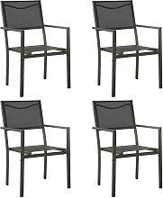vidaXL Chaises de jardin 4 pcs Textilène et acier