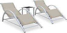 vidaXL Chaises longues 2 pcs avec table Aluminium