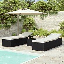 vidaXL Chaises longues de jardin table à thé 3