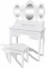 vidaXL Coiffeuse avec Tabouret et 3 Miroirs Blanc