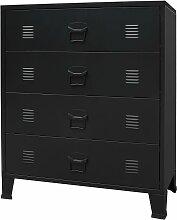 vidaXL Commode à tiroirs Métal Style Industriel