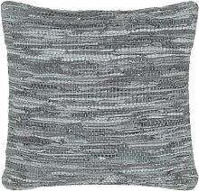 vidaXL Coussin chindi Gris 60x60 cm Cuir et coton
