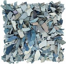 vidaXL Coussin shaggy denim Bleu 60x60 cm Cuir et