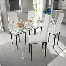 vidaXL Ensemble de salle à manger 4 chaises Blanc