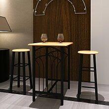 vidaXL Ensemble de table à dîner Bois brun roux