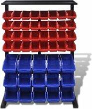 Vidaxl étagère à outils de garage bleu et rouge
