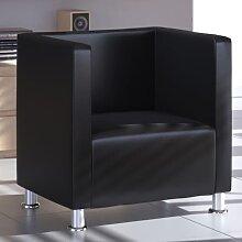 vidaXL Fauteuil cube Noir Similicuir