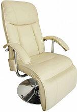 vidaXL Fauteuil de massage Blanc crème Similicuir