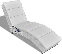 vidaXL Fauteuil de massage inclinable Blanc
