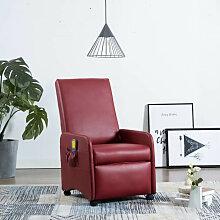 vidaXL Fauteuil de massage Rouge bordeaux