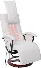 vidaXL Fauteuil de massage shiatsu Blanc Similicuir