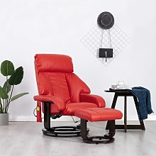 vidaXL Fauteuil de massage TV Rouge Similicuir