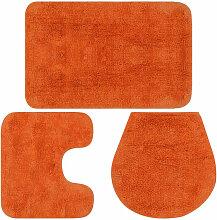 vidaXL Jeu de tapis de salle de bain 3 pcs Tissu