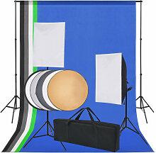 vidaXL Kit de studio 5 toiles de fond colorées et