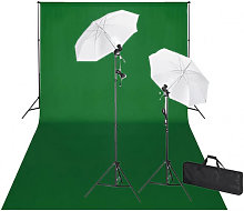 vidaXL Kit de studio et toile de fond verte 600 x