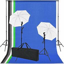 vidaXL Kit de studio photo 5 toiles de fond