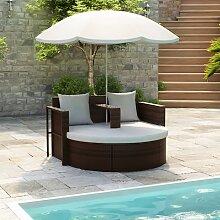 vidaXL Lit de jardin avec parasol Marron Résine