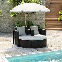 vidaXL Lit de jardin avec parasol Noir Résine