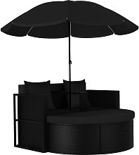 vidaXL Lit de jardin avec parasol Résine tressée