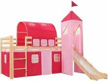Vidaxl lit mezzanine d'enfants avec toboggan
