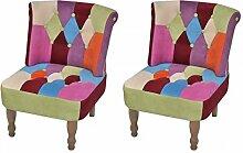 vidaXL Lot de 2 Fauteuil de Style France Design