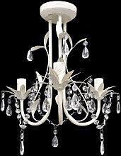 vidaXL Lustre suspendu à cristaux Blanc élégant