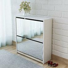 vidaXL Meuble à chaussures 2 étages avec miroir