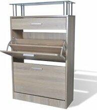 Vidaxl meuble à chaussures avec tiroir et plateau