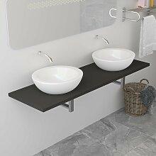 vidaXL Meuble de salle de bain Gris 160x40x16,3 cm