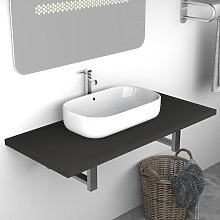 vidaXL Meuble de salle de bain Gris 90x40x16,3 cm
