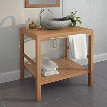 vidaXL Meuble-lavabo de salle de bains Teck massif