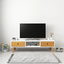 vidaXL Meuble TV Blanc 120 x 35 x 35 cm Pin massif