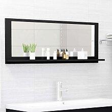 vidaXL Miroir de salle de bain Noir 100x10,5x37 cm