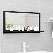 vidaXL Miroir de salle de bain Noir 80x10,5x37 cm