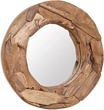 vidaXL Miroir décoratif Teck 60 cm Rond