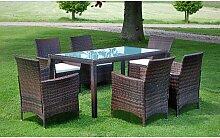 vidaXL Mobilier à dîner jardin 7 pcs et coussins