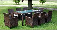 vidaXL Mobilier à dîner jardin 9 pcs et coussins