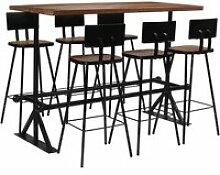 Vidaxl mobilier de bar 7 pcs bois de