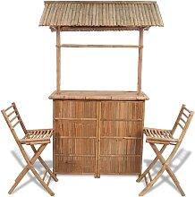 vidaXL Mobilier de bistro 3 pcs Bambou