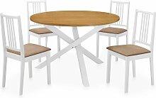 vidaXL Mobilier de salle à manger 5 pcs MDF Blanc