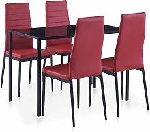 vidaXL Mobilier de salle à manger 5 pcs Rouge
