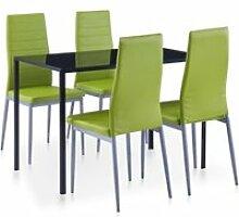 Vidaxl mobilier de salle à manger 5 pcs vert