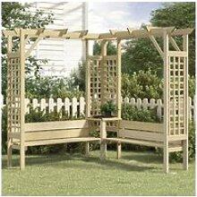 Vidaxl pergola d'angle avec banc bois de pin